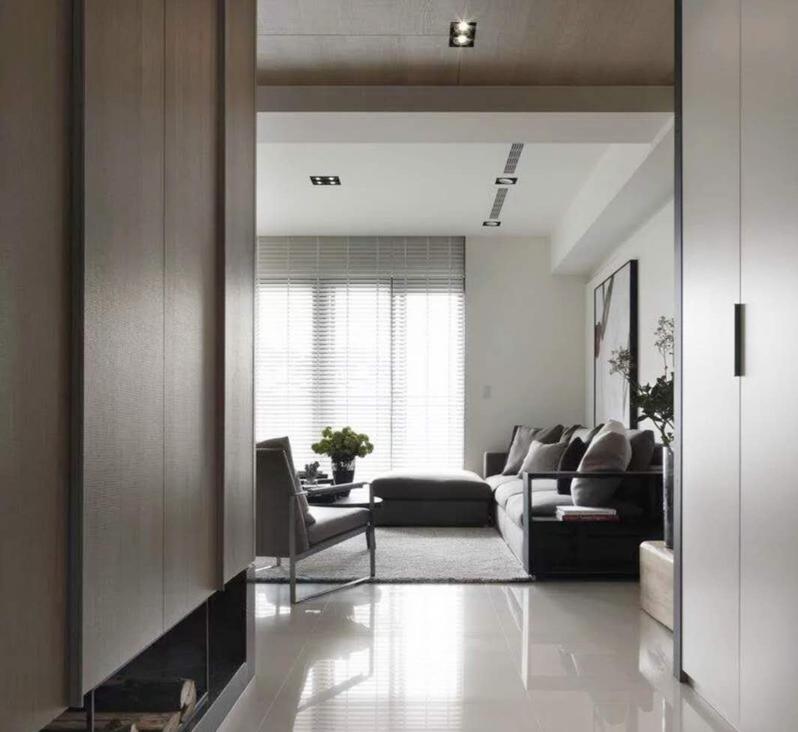 120平现代极简客厅无主灯装修风格